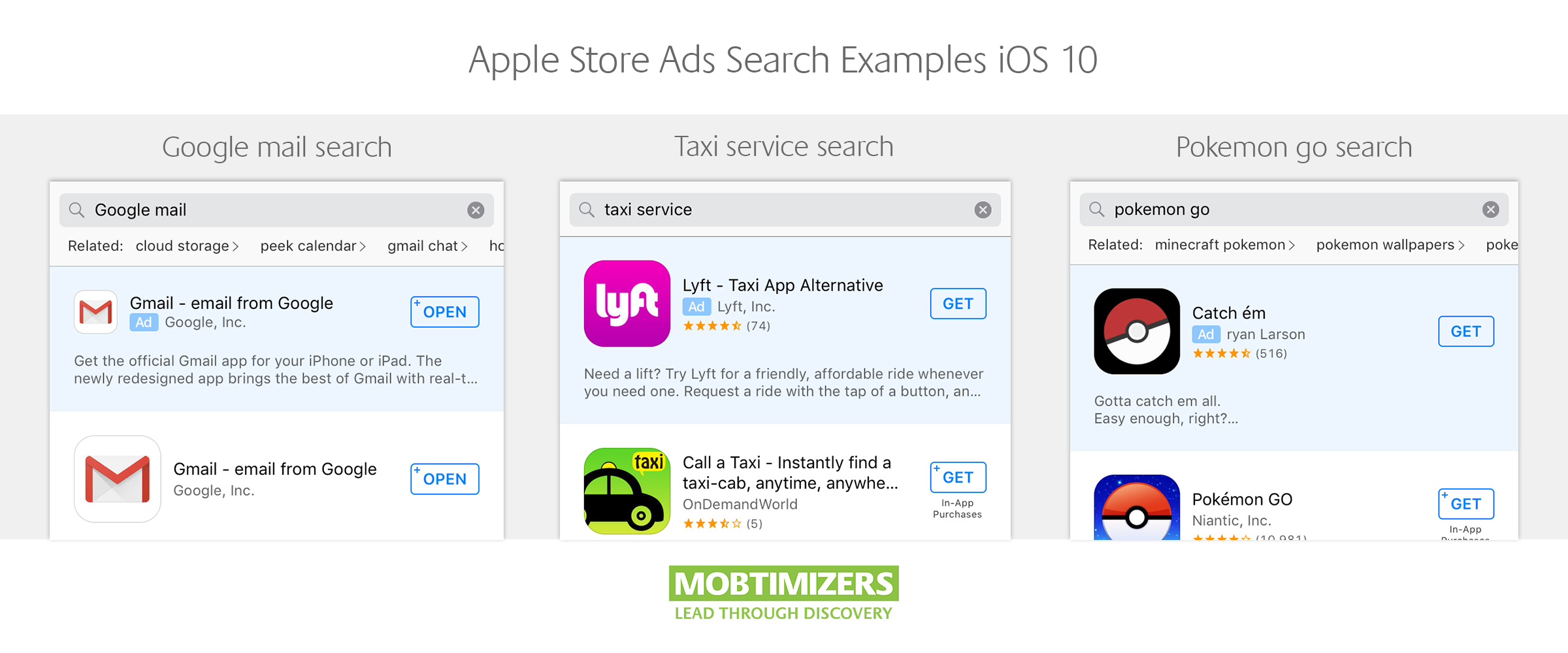 Examples of search ads in the apple app store (ios 10) ASO