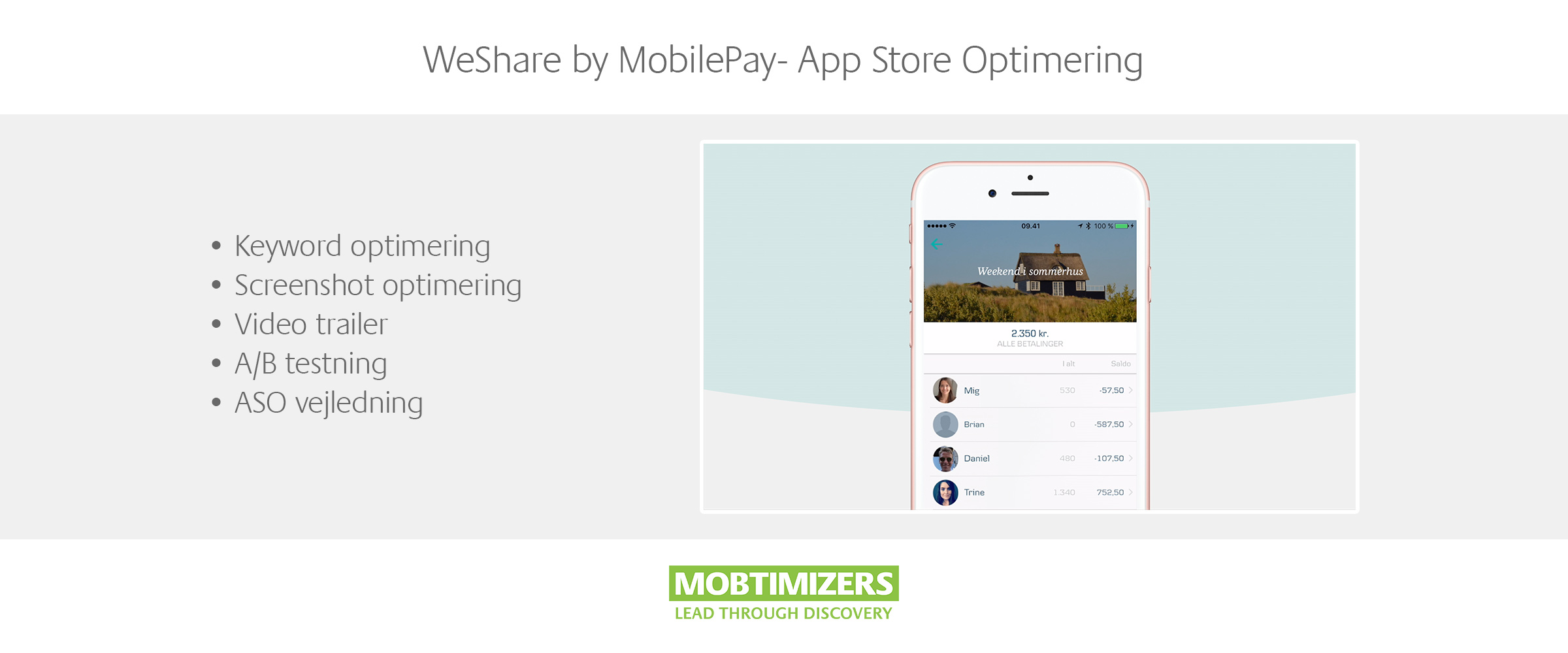 ASO Case: WeShare by MobilePay (Danske Bank) App Store Optimering (iOS, Android, App Store)