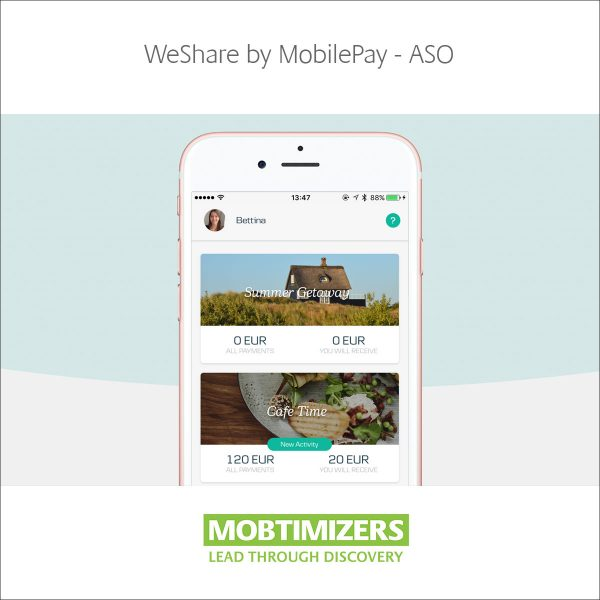 WeShare by MobilePay, Video Trailer and App Store Optimization client. Mobile Strategy and guidance.