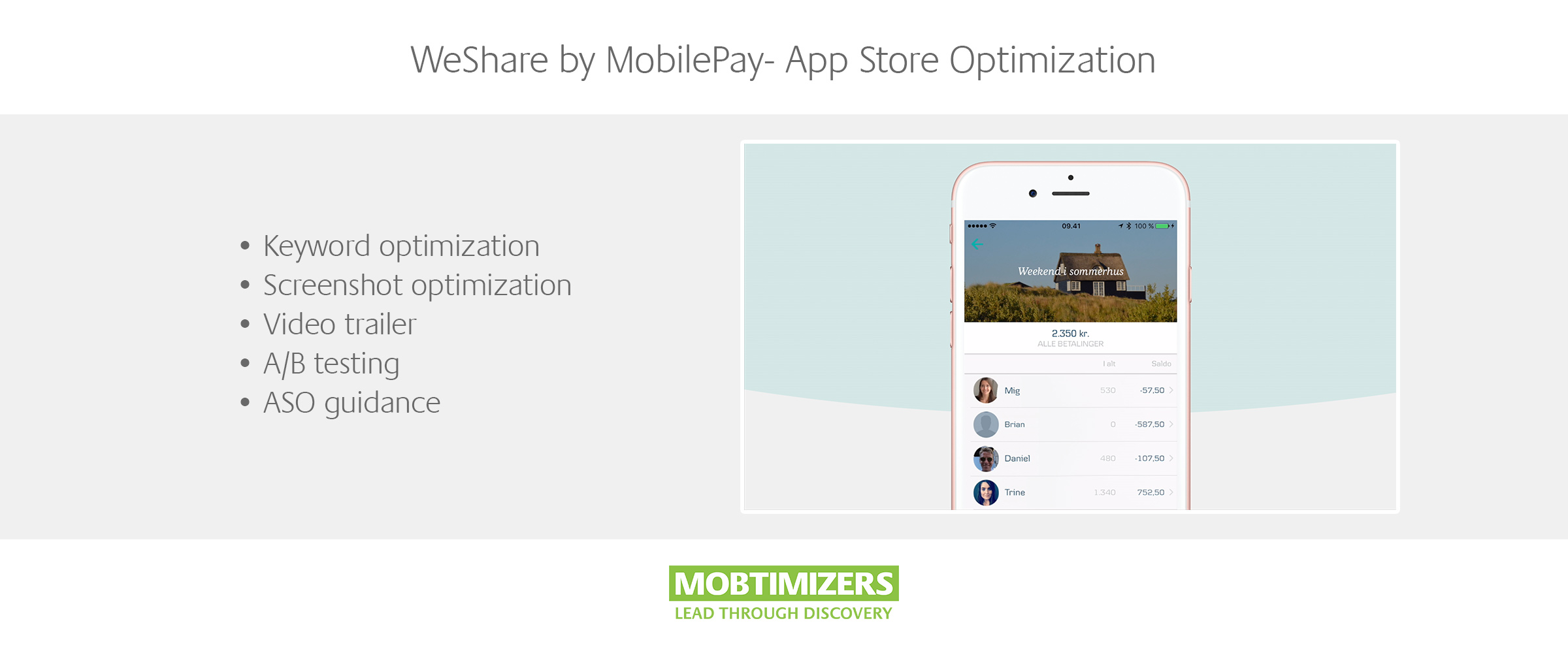 WeShare by Mobile Pay App Store Optimization and Video Trailer (ASO) Mobile Strategy